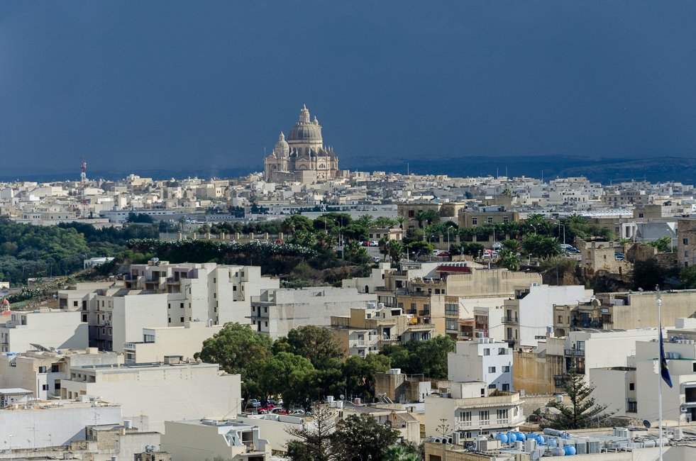 View over Victoria, Rabat, biggest city of Gozo island, Malta
