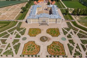 Rundale palace and garden - aerial view. Latvia near Bauska city.